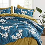 Eikei Almond Tree Blossom Floral Duvet Cover Chinoiserie Chic Style Blooming Trees Vines and Branches Long Staple Cotton 3pc