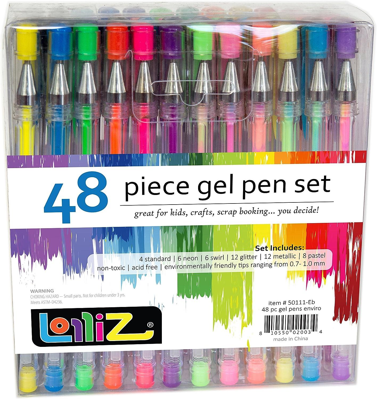 LolliZ Gel Pens | 48 Gel Pen Set | estos son de calidad de Gel de tinta rotulador | Multi Color | tinta bolígrafo de punta | suave, anti skip, Vibrant Color – Neón: Amazon.es: Hogar
