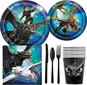 How To Train a Dragon Birthday Party Supplies Pack Including Cake & Lunch Plates, Cutlery, Cups, Napkins (8 Guests)