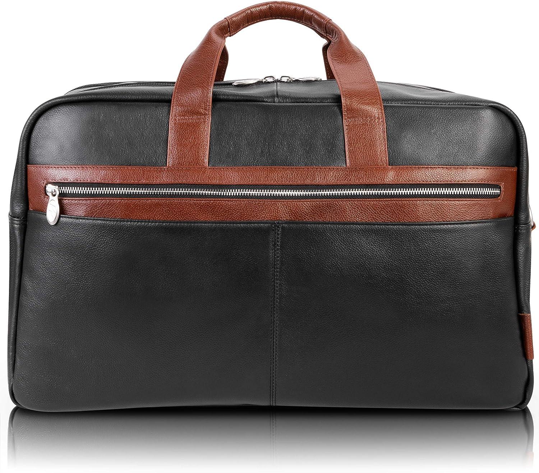 "McKlein Wellington, Pebble Grain Calfskin Leather, 21"" Two-Tone, Dual-Compartment, Laptop & Tablet Carry-All Duffel, Black (19112)"