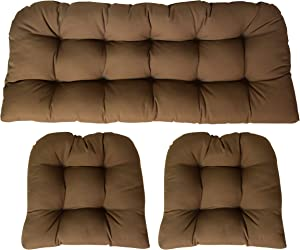 RSH DECOR Sunbrella Canvas Chestnut 3 Piece Wicker Cushion Set - Indoor/Outdoor Wicker Loveseat Settee & 2 Matching Chair Cushions