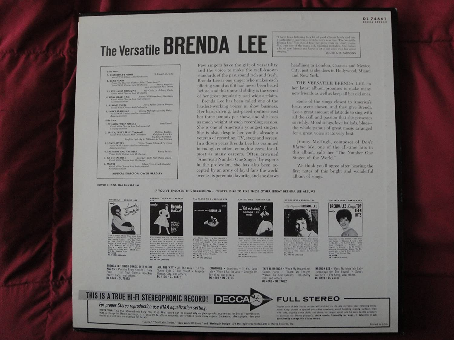 Brenda Lee - Brenda Lee - The Versatile Brenda Lee - Lp Vinyl Record - Amazon.com Music