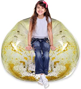 Inflatable Chair - Clear Glitter Inflatable Chair for Kids Bedrooms, Living Rooms, Indoors and Outdoors - Inflatable Chair 90's Style Furniture Glitter Blow Up Chair (Gold)