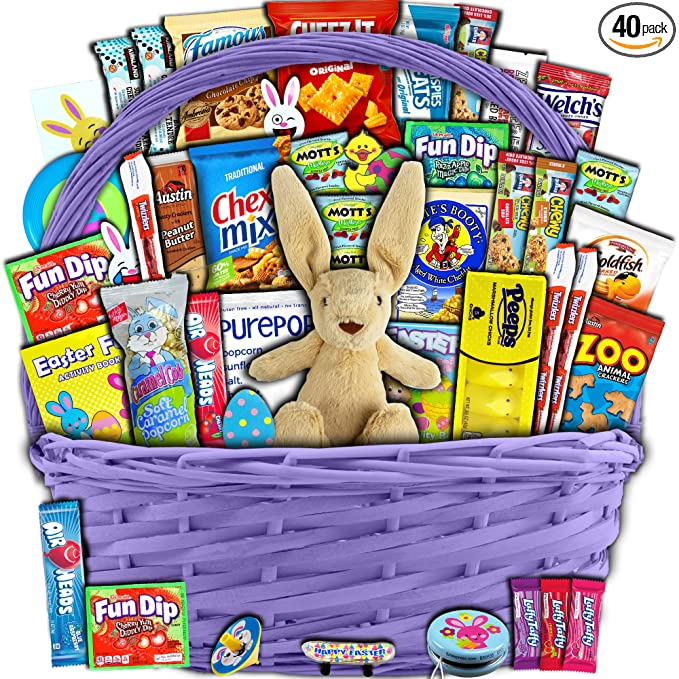 Purple Easter Basket for Kids and Adults 40ct - Already Filled Easter Gift Basket with Plush Easter Bunny, Chocolate, Candy, and Toys - Boys, Girls, Grandchildren, Young Children, Toddlers, Men, Women best easter baskets