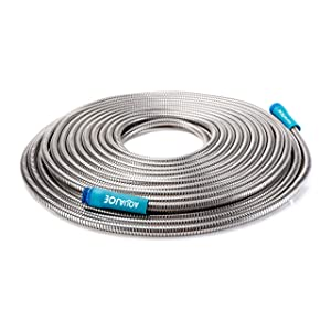 "Aqua Joe AJSGH75 1/2"" Heavy-Duty Spiral Constructed Stainless Steel Garden Hose, 75 Foot"