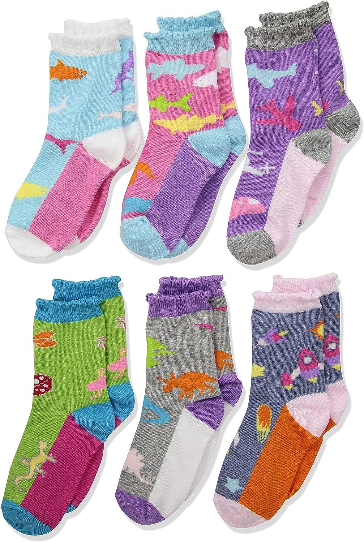 Jefferies Socks Little Girls Rock Fashion Crew Socks 6 Pair Pack