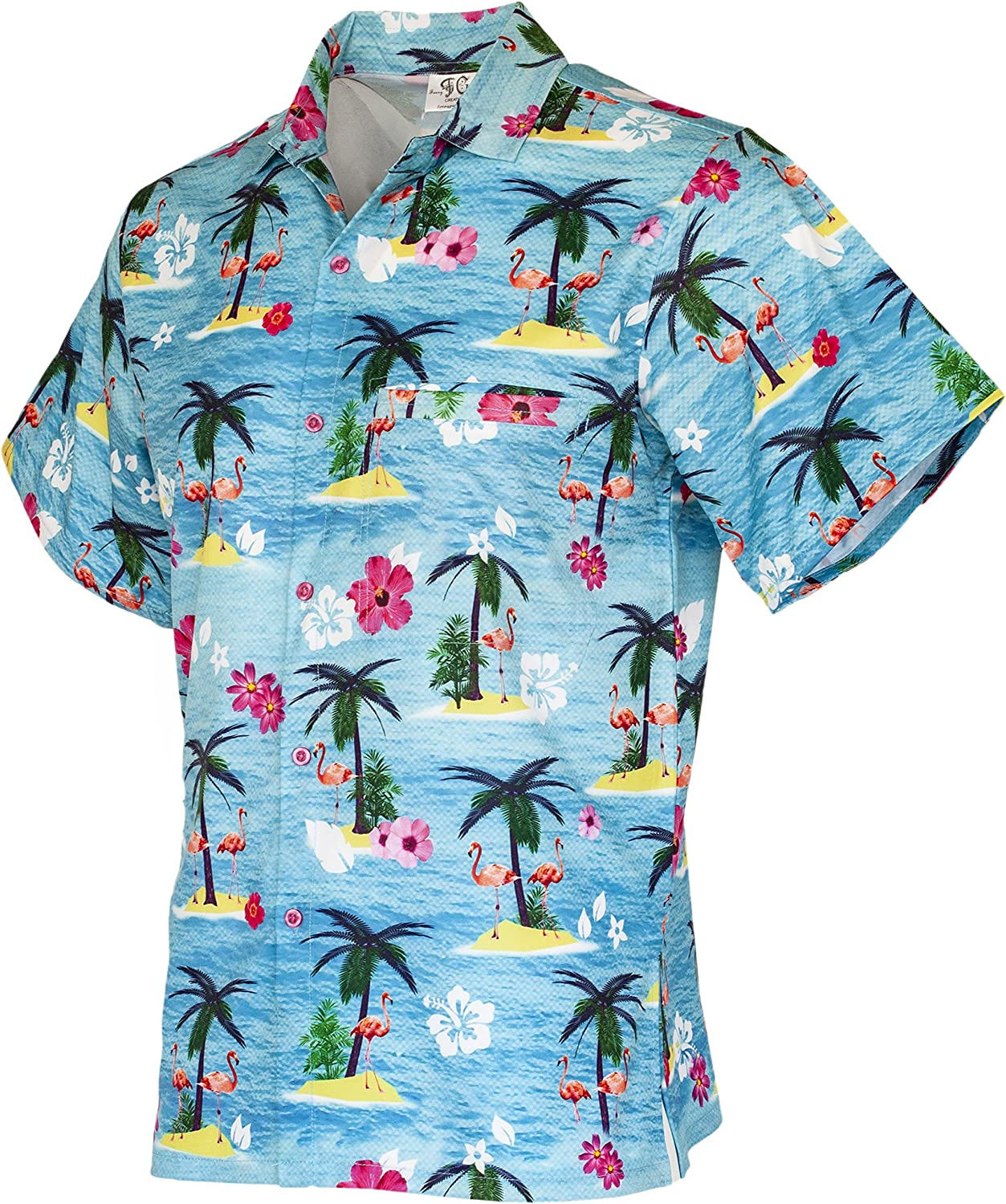 Funny Guy Mugs Mens Hawaiian Print Button Down Shirt