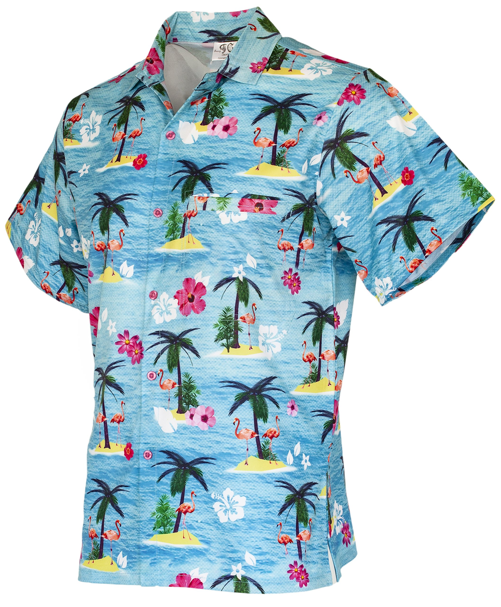 204757a36 Galleon - Funny Guy Mugs Mens Flamingo Hawaiian Print Button Down Short  Sleeve Shirt, 2X-Large
