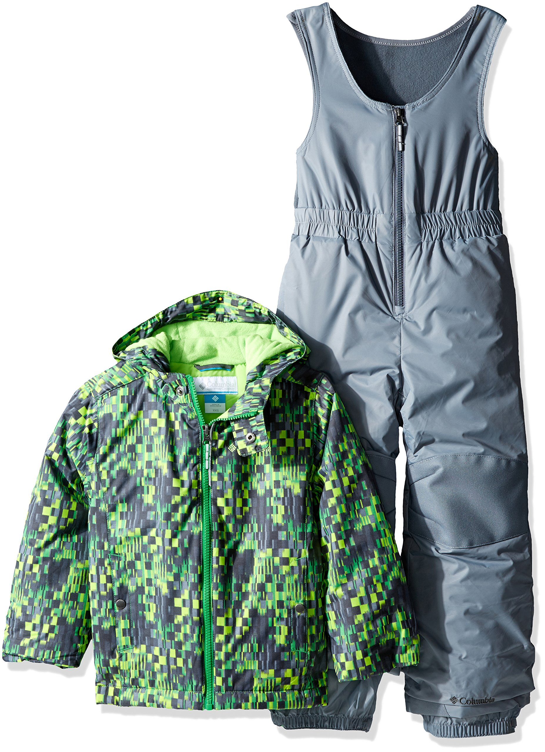 Columbia Little Boys' Toddler Frosty Slope Set, Green Mamba Block Print, 2T