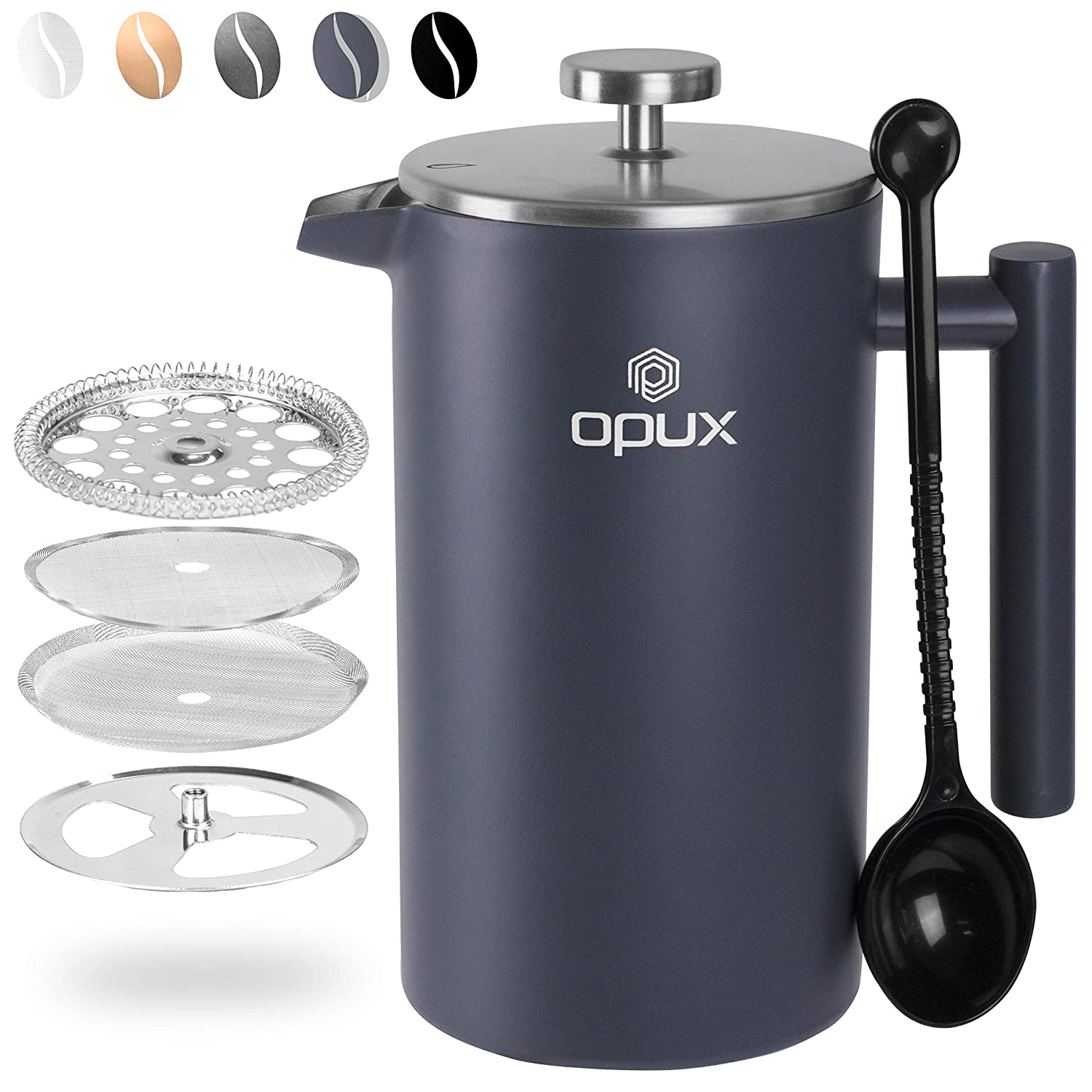 OPUX French Press Insulated Coffee Maker | Double Wall 304 Stainless Steel 4 Cup Coffee Press Pot with 4 Level Filter Screen System for Pour Over Brewing | 34 fl oz (1 Liter) (Matte Grey)