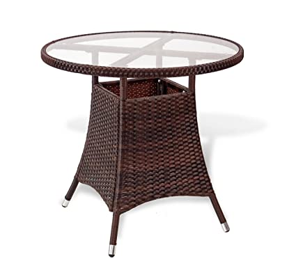 Amazon patio resin outdoor wicker round 315 inches dining patio resin outdoor wicker round 315 inches dining table wglass top dark brown watchthetrailerfo