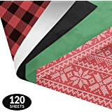 Rustic Christmas Gift Wrapping Tissue Paper Set - 120 Sheets - Patterned and Solid Color