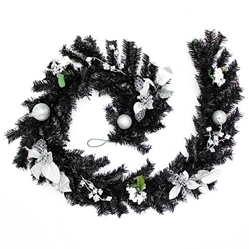 werchristmas decorated garland christmas decoration 6 feet blacksilver - Black And Silver Christmas Decorations
