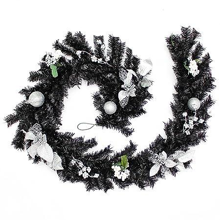 Werchristmas Decorated Garland Christmas Decoration 6 Feet Black Silver