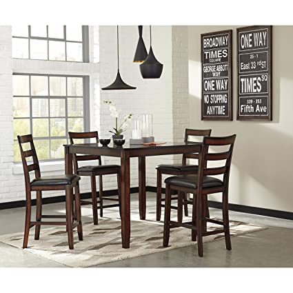 Ashley Furniture Signature Design   Coviar Counter Height Dining Room Table  And Bar Stools (Set