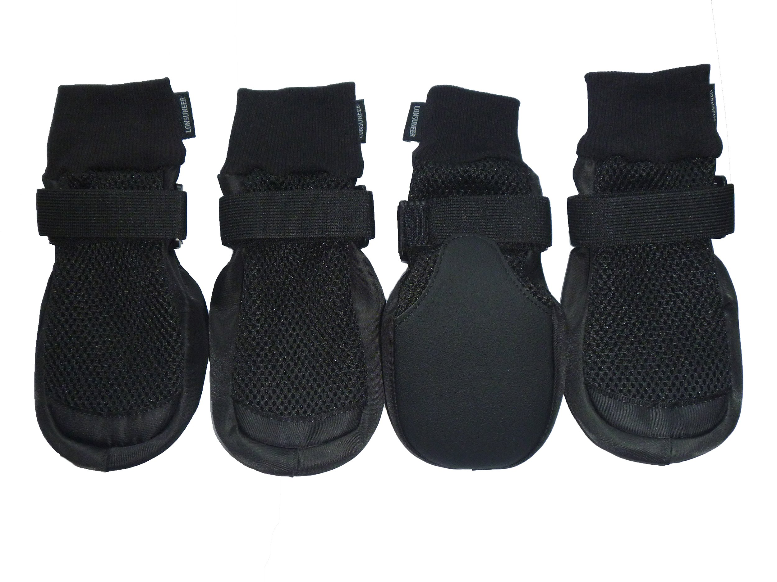 LONSUNEER Paw Protector Dog Boots Breathable Nonslip and Soft Black Color Size M L Xl (X-large - Inner Sole Width 3.15'')