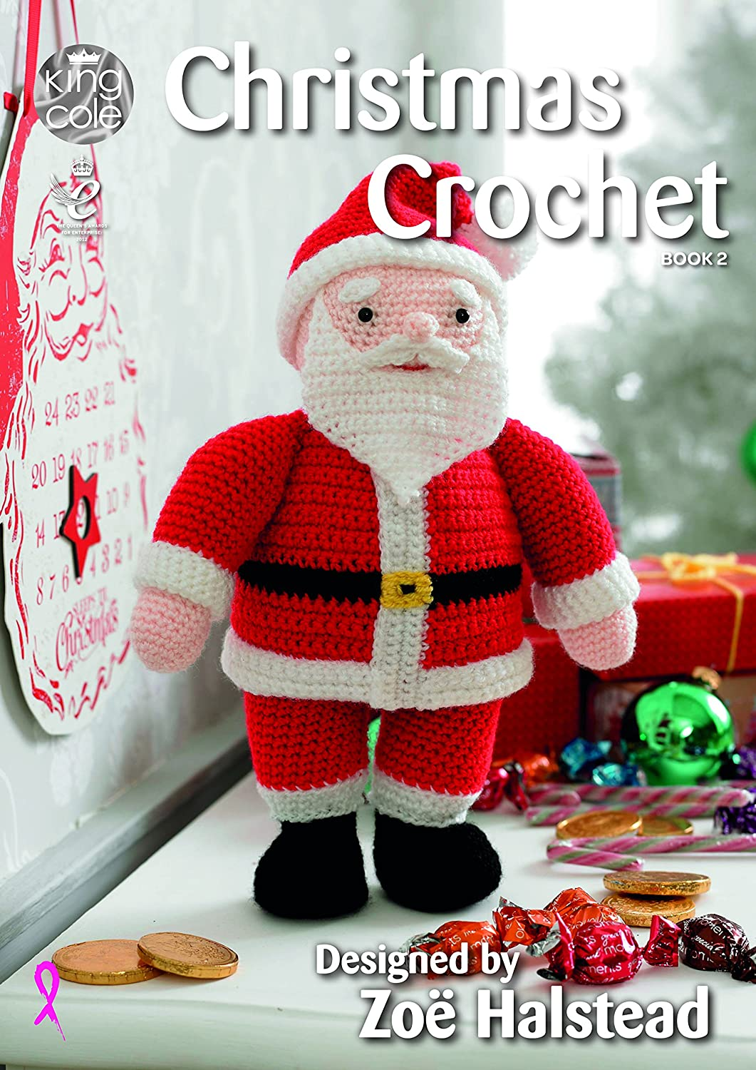 amazoncom king cole christmas crochet book 2 amigurumi toys table runner tree skirt garland stocking more home kitchen - Books About Santa Claus 2