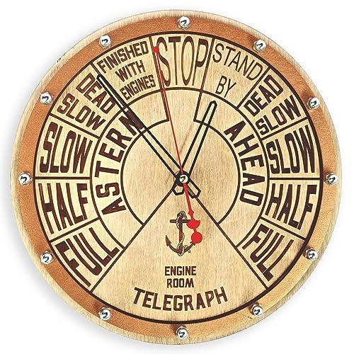Amazon.com: Engine order telegraph unique wooden wall clock ...