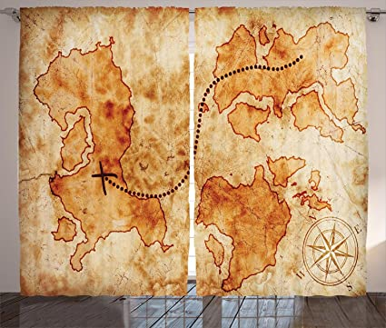 Authentic World Map.Amazon Com Ambesonne Island Map Decor Curtains Authentic