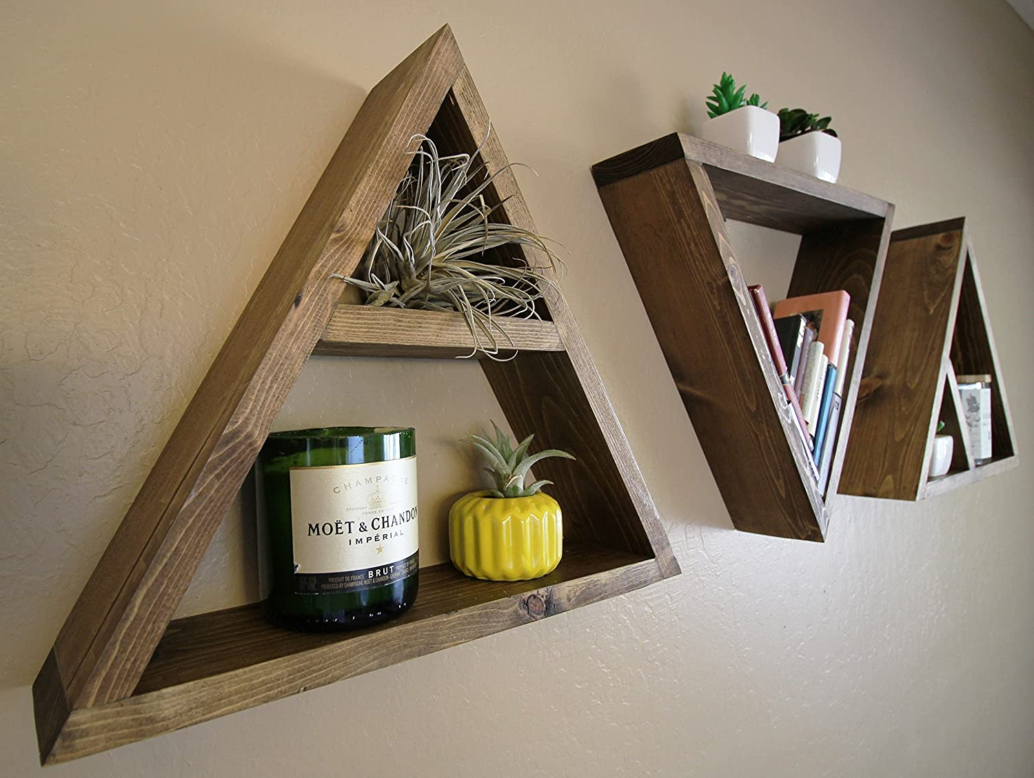 Amazon wood triangle shelf custom color crystal display amazon wood triangle shelf custom color crystal display shelf geometric wall shelves dorm decor mid century modern single or set of three amipublicfo Gallery