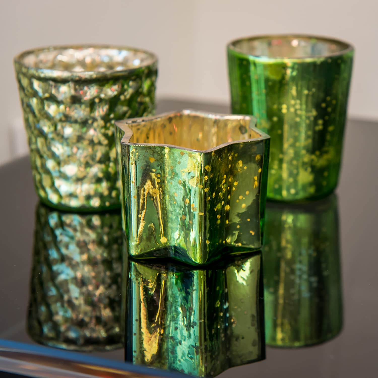 Vertical Insideretail Mercury Glass Tea Light Holders with Distressed Green Foil Set of 48 Insideretail Ltd 700452-9-48GRE 7cm