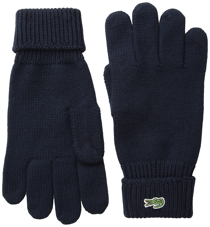 Lacoste Mens Green Croc Wool Gloves