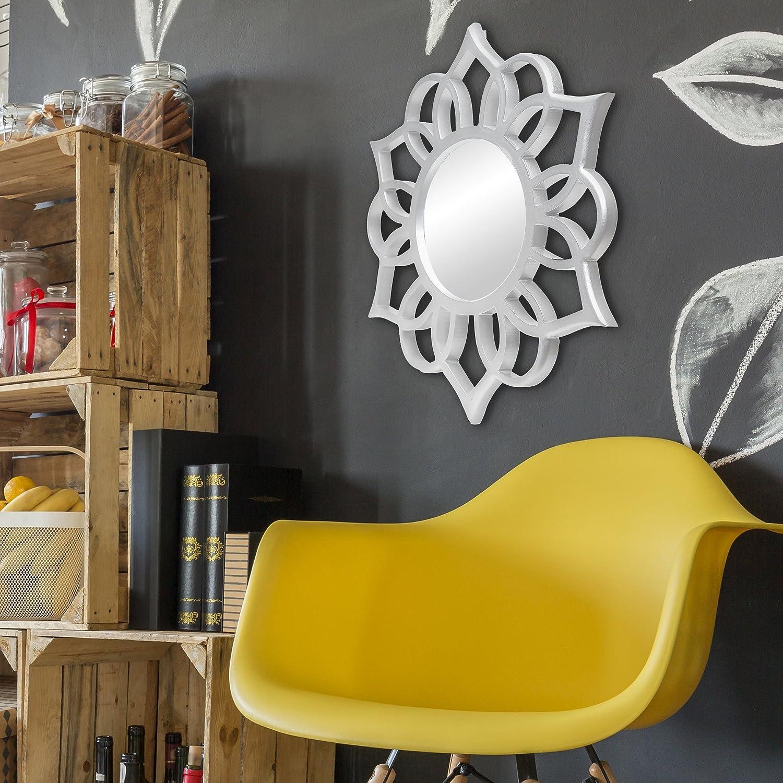 Amazon.com: Patton Wall Decor Round Ornate Accent Mirror Wall, White ...