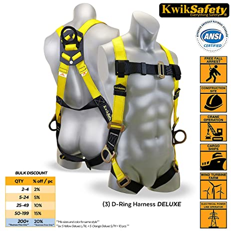 KwikSafety 3D Ring Industrial Fall Protection Safety Harness | OSHA  Approved Full Body Personal Protection Equipment
