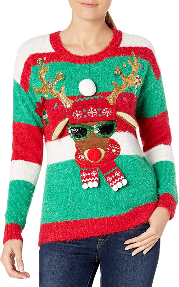 Blizzard Bay Women's Ugly Christmas Reindeer Sweater Ugly Christmas Sweaters for women