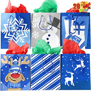 """Christmas Holiday Blue Papr Gift Bags 20 Christmas Goody Gift Bags with Handles in 7.3"""" x3.4"""" x8.9"""", Holiday Paper Goodie Bag"""