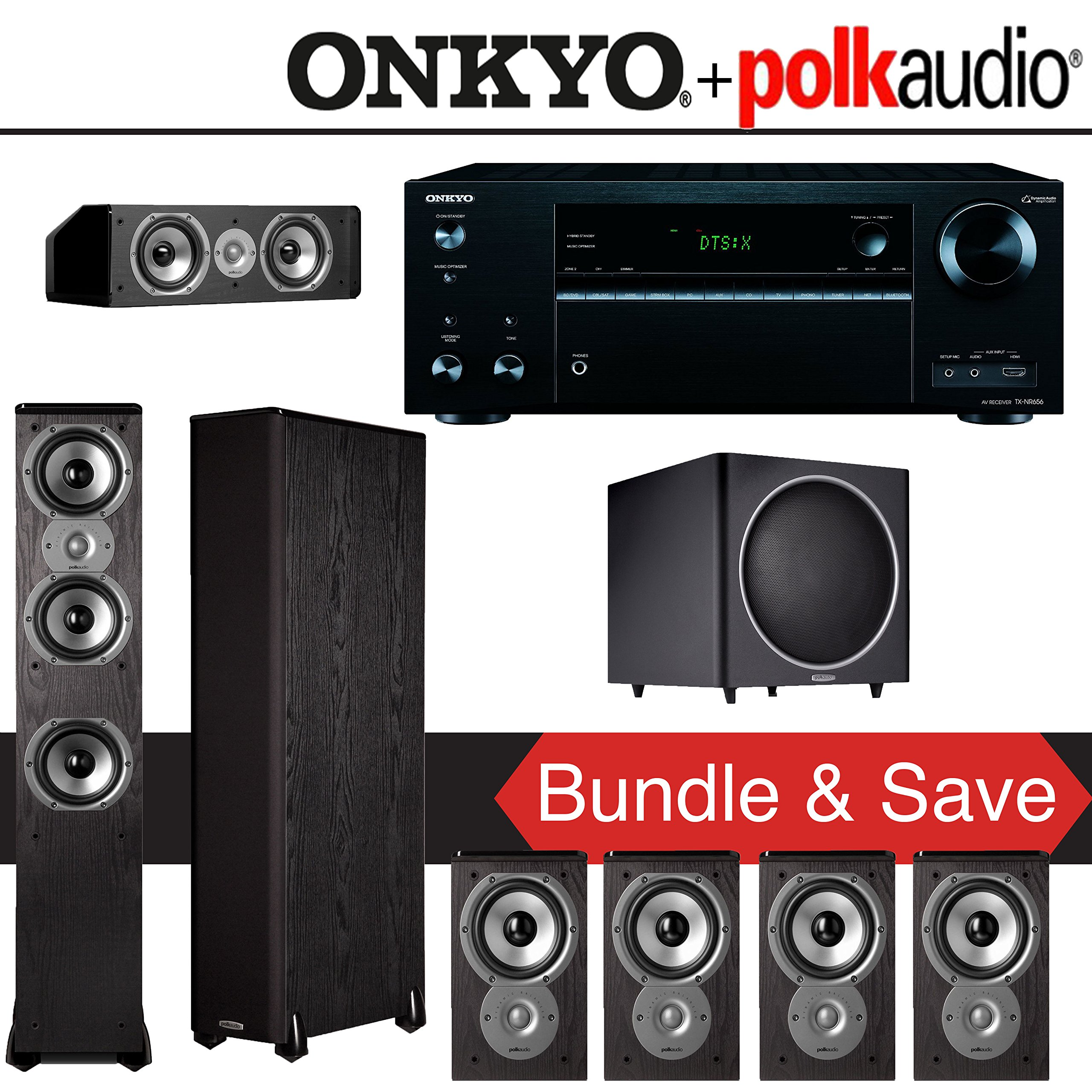 Polk Audio TSi 300 7.1-Ch Home Theater System with Onkyo TX-NR656 7.2-Ch Network AV Receiver by Polk Audio