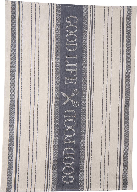 Kay Dee Designs Cook's Kitchen Food Good Life Birdseye Woven Jacquard Tea Towel, Graphite