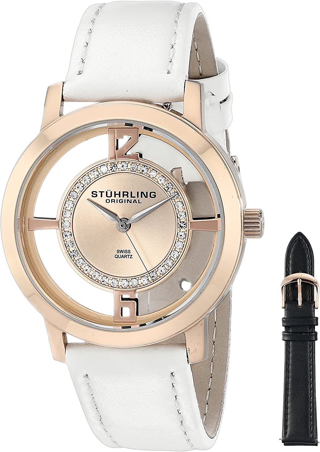 Stuhrling Original Women s 388L2.SET.03 Analog Winchester Tiara Swiss Quartz 16K Rose Gold-Plated Watch with Interchangeable Strap