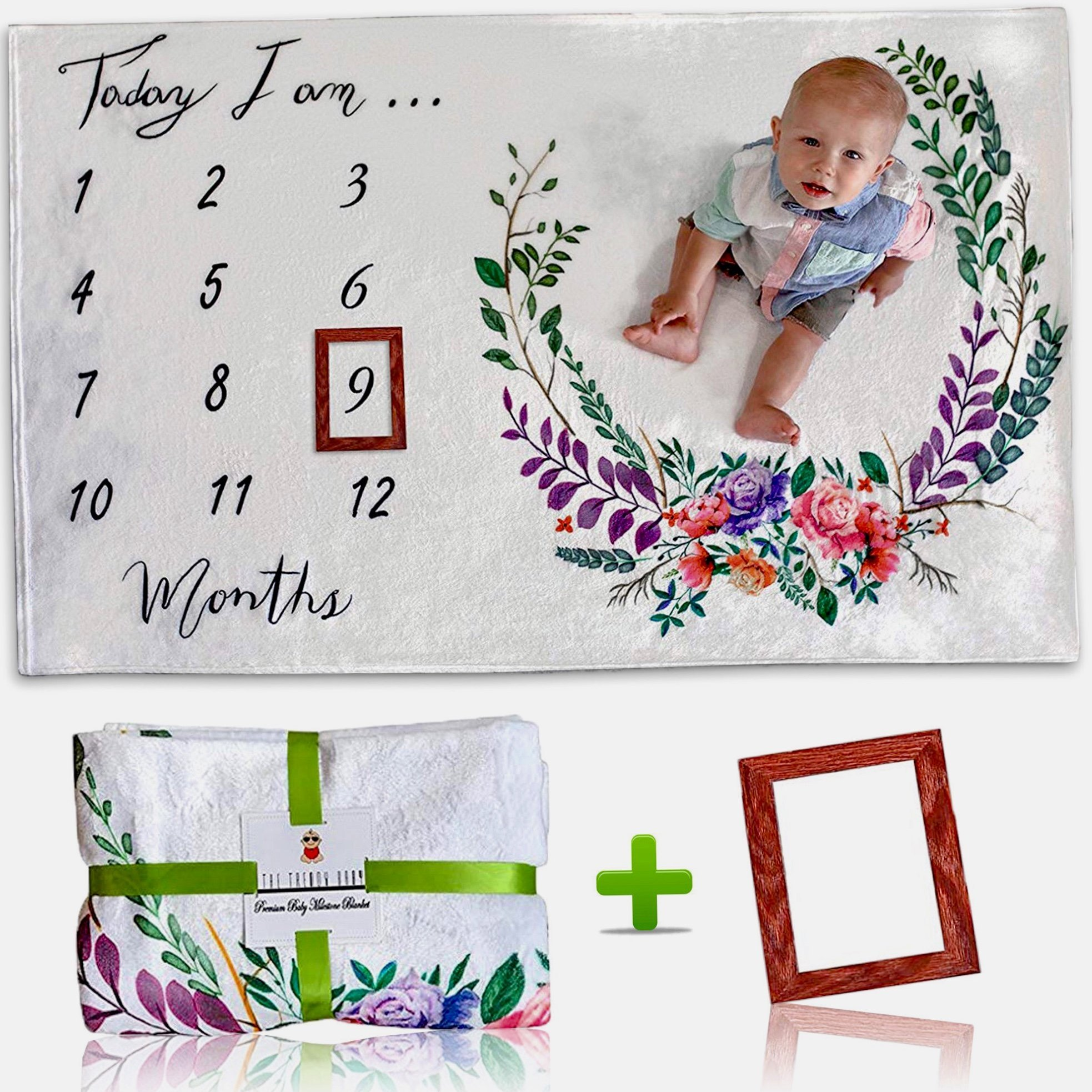 [Upgrade Version] Premium Monthly Baby Milestone Blanket w/Bonus Wooden Style Frame | Ultra Soft (Upgraded 250gsm) Fleece Blanket | Large 60x40 Size | Best Newborn or Baby Shower Gift for Boy or Girl