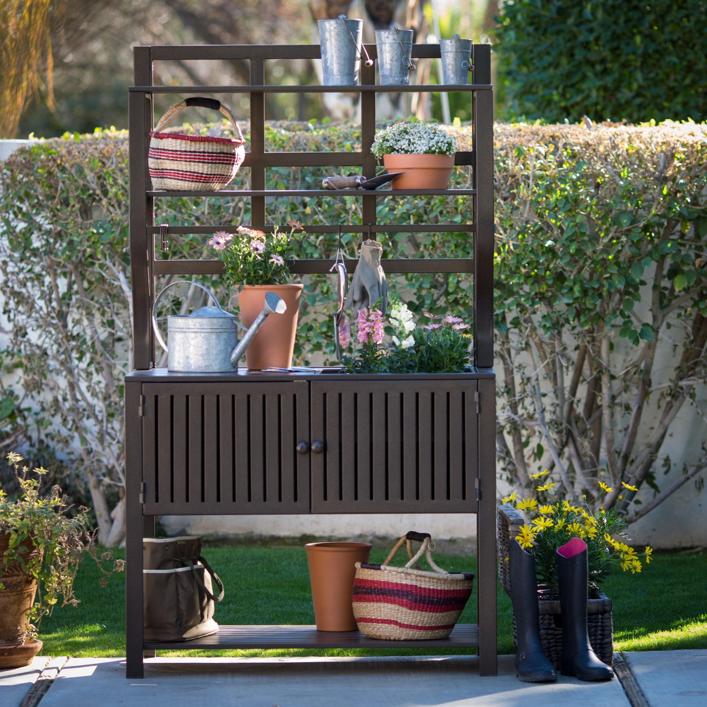 Contemporary Style, Modern Metal Chestnut Brown Finish Outdoor Potting Bench 42''W x 23''D x 72''H With Storage and 2 Slatted Shelves, 7 Hooks for Hanging Gardening Tools by Belham Living (Image #5)
