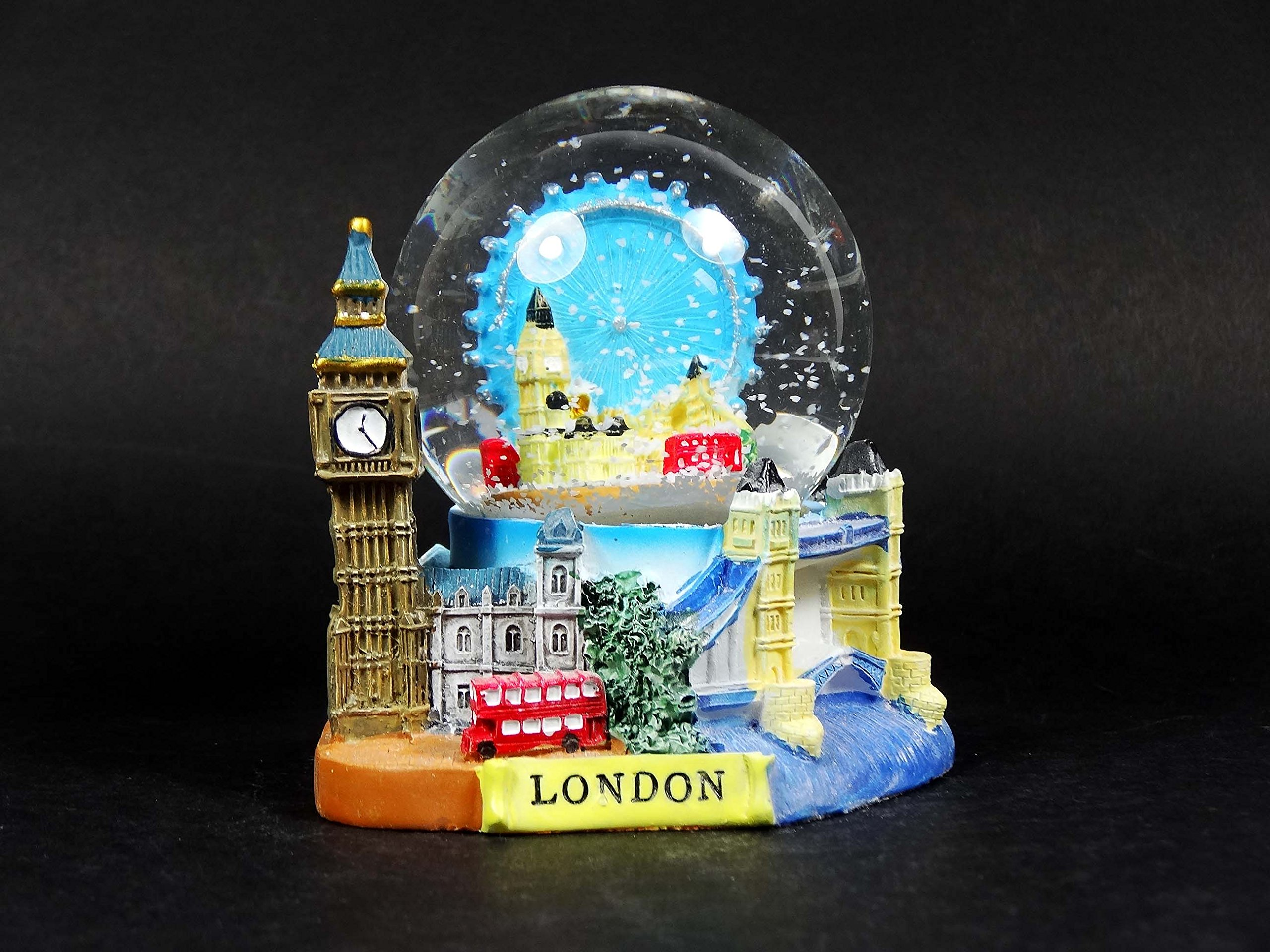 3D Snow Globe (Medium)- London Collage, Detailing London Landmarks Big Ben, Tower Bridge etc.
