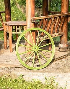 Gardenised Decorative Antique Cottage Green Wagon Garden Wheel - 31