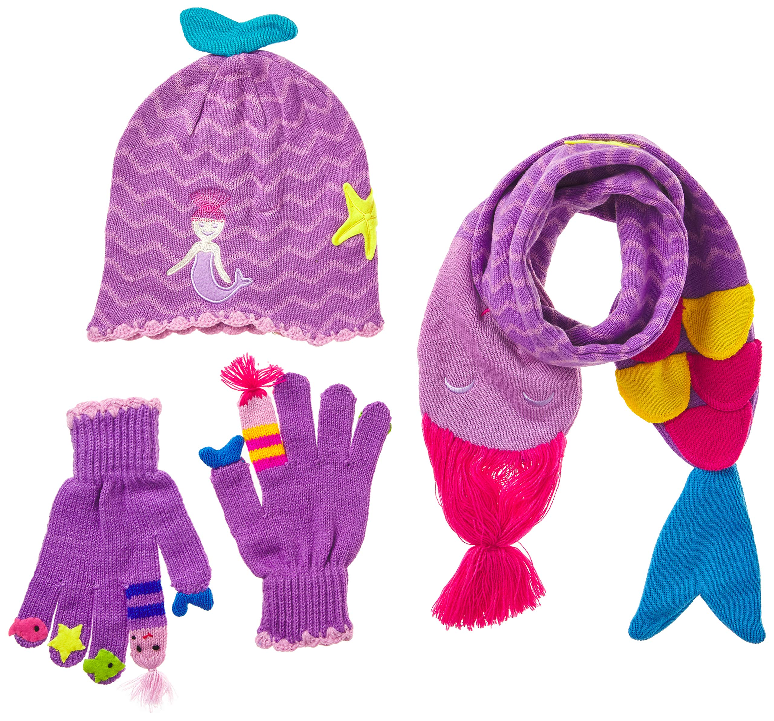 Kidorable Girls' Little Mermaid Hat Scarf Set, Purple, Small by Kidorable (Image #1)