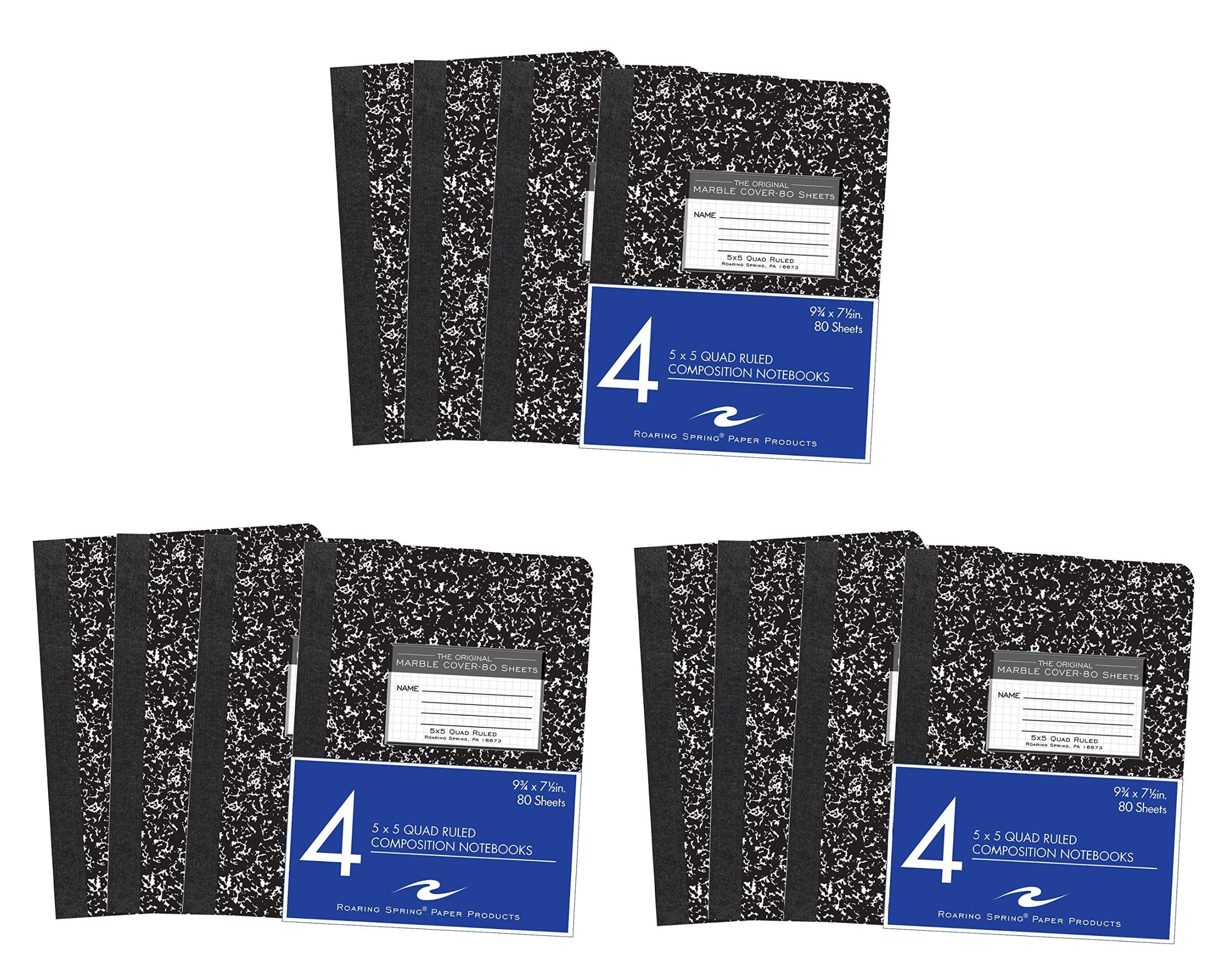 Roaring Spring Hard Cover Composition Book, 9 3/4'' x 7 1/2'', 5x5 Graph Ruled, 80 sheets, 12 Pack
