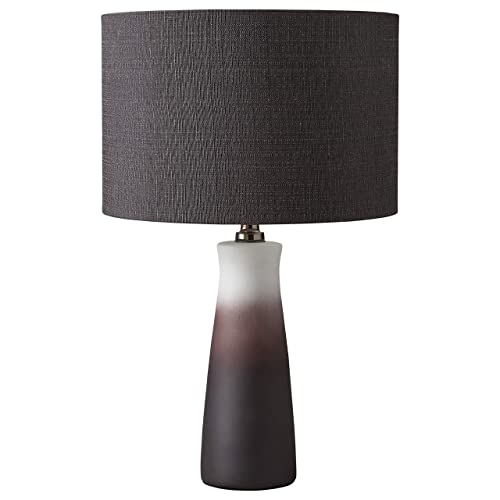 Rivet Modern Ombre Ceramic Base Table Lamp with Light Bulb and Drum Shade – 4.25 x 4.25 x 19.25 Inches, Black and White