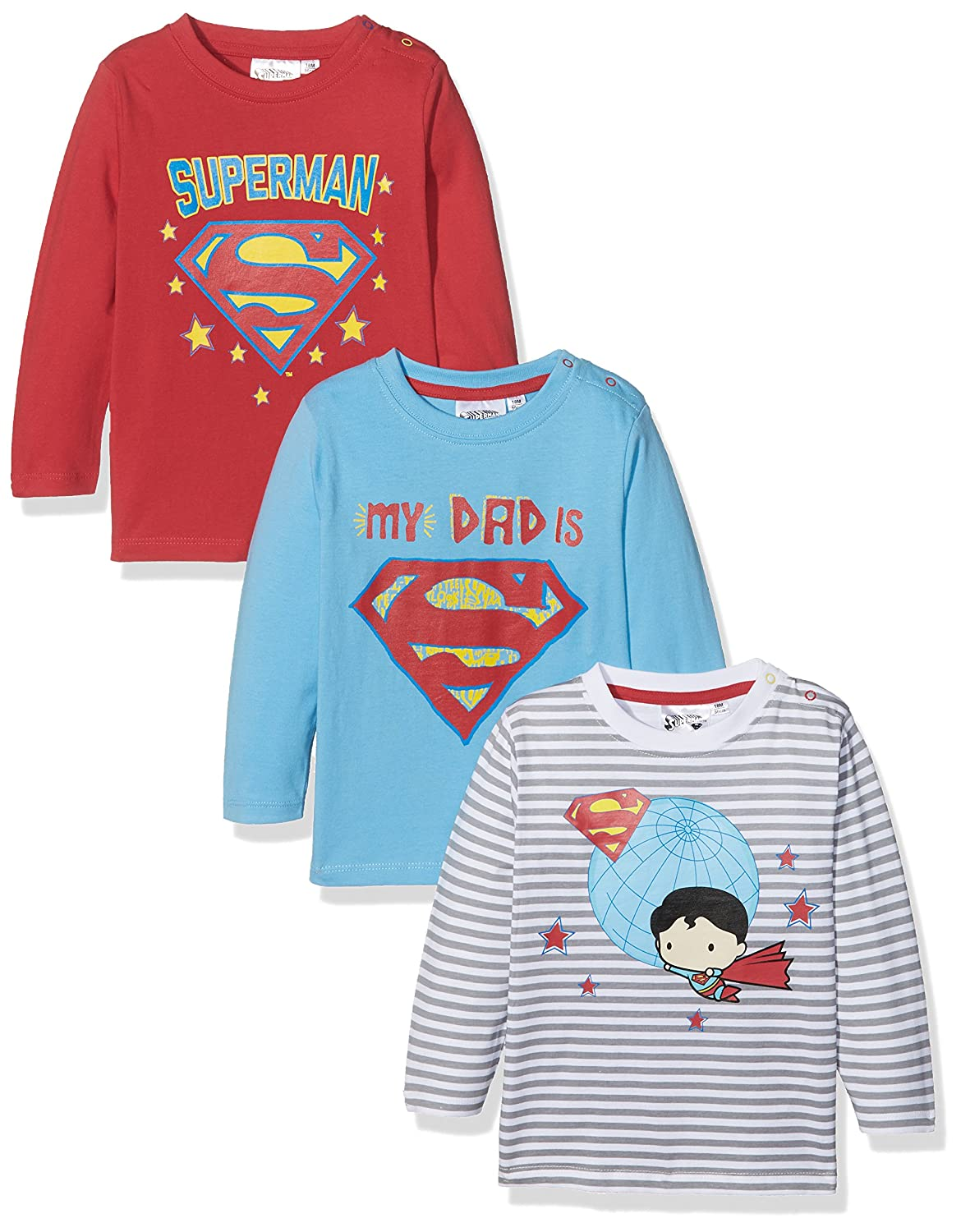 FABTASTICS Superman Basic, T-Shirt Bimbo (Pacco da 3) 161094