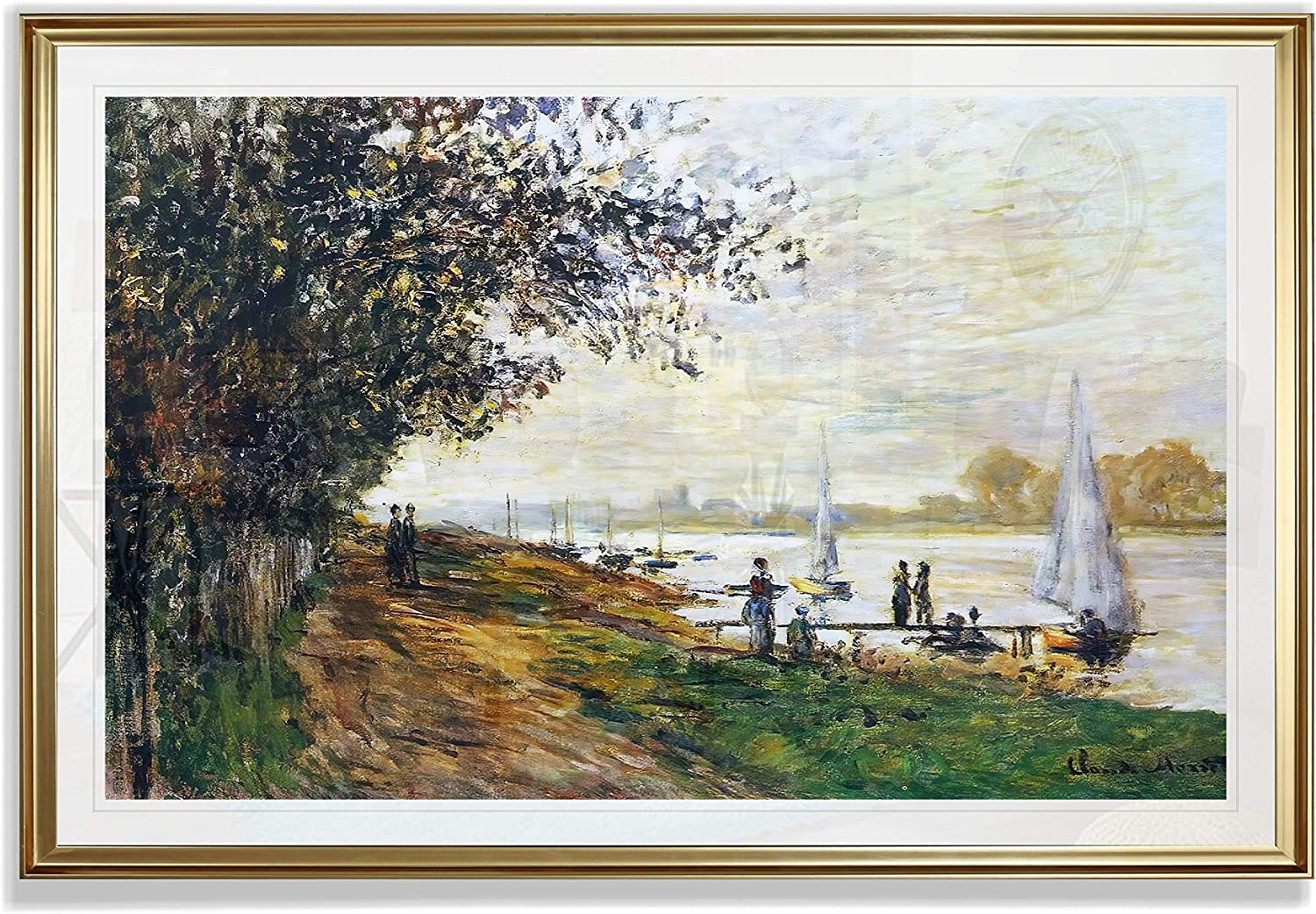 Monet Wall Art Collection The The Riverbank at Le Petit-Gennevilliers, Sunset, 1875 Fine Giclee Prints Wall Art in Premium Quality Framed Ready to Hang 28X48, Gold