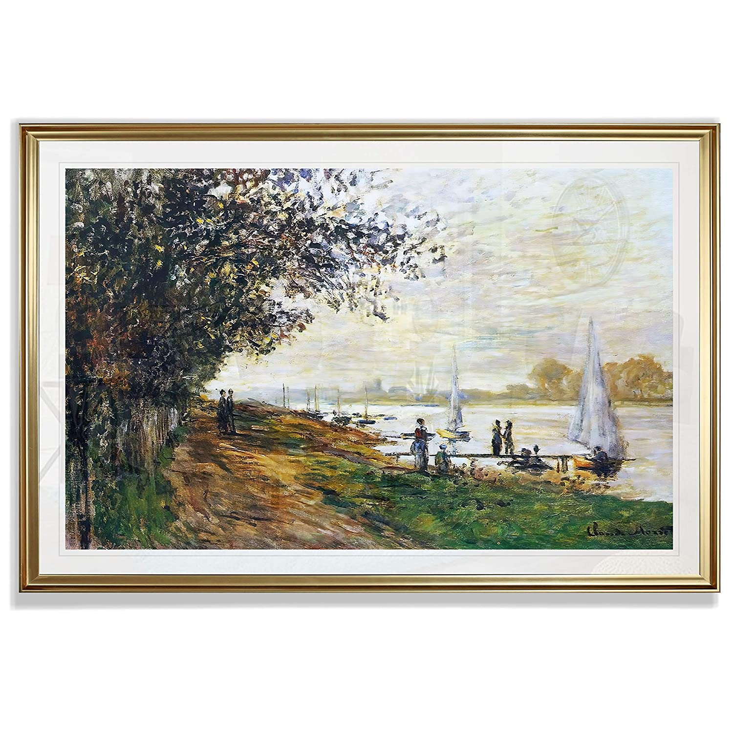 Monet Wall Art Collection The The Riverbank at Le Petit-Gennevilliers, Sunset, 1875 Fine Giclee Prints Wall Art in Premium Quality Framed Ready to Hang 16X22, Gold
