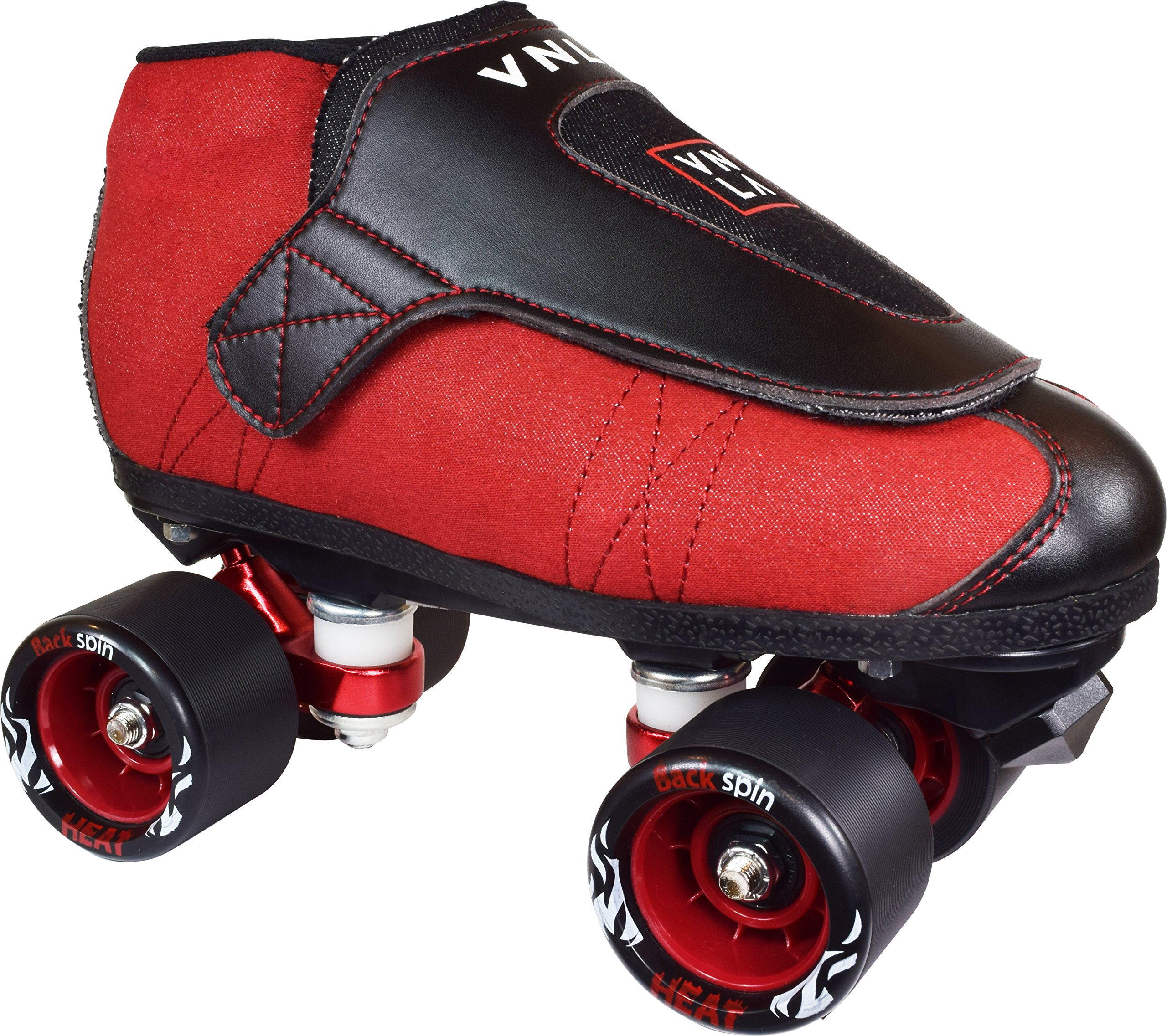 VNLA Code Red Jam Skates | Quad Roller Skates from Vanilla - Indoor speed skates - Denim and Leather - for Tricks and Rhythm skating (Red and Black)