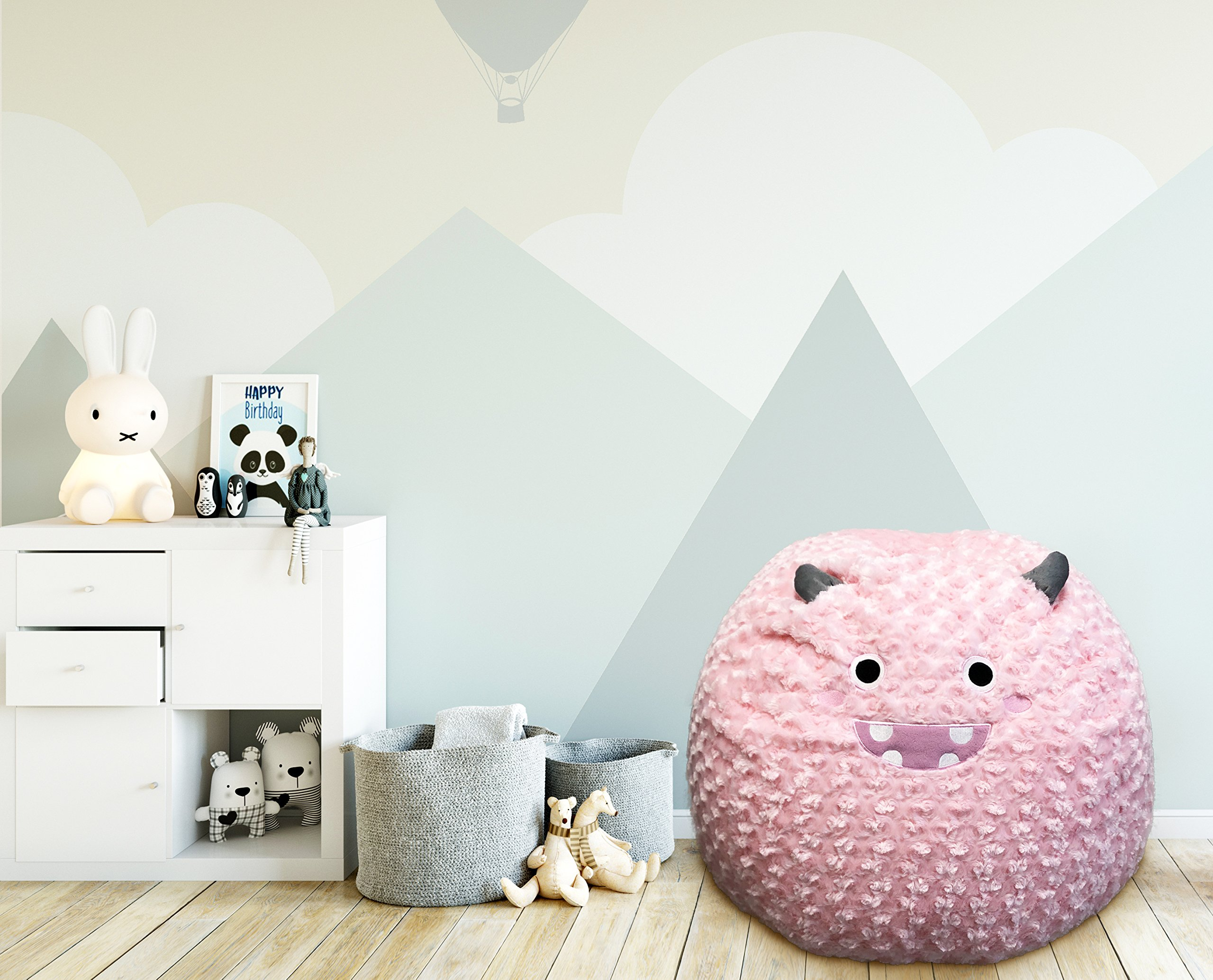Beanbag For Kids: Soft And Comfortable Stuffed Bean Bag Chair For The Nursery, Cute Animal Design For Boys And Girls, Lux Plush Fabric, For Children Of All Ages 30'' x 30'' x 20'' (Friendly Monster)
