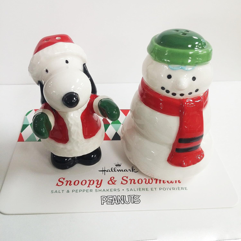 Amazon.com: Peanuts Santa Snoopy & Snowman Salt Pepper Shakers ...