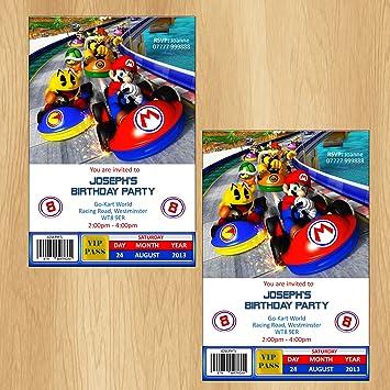 Mario Kart Party Invitations Personalised Invites Amazon Co Uk