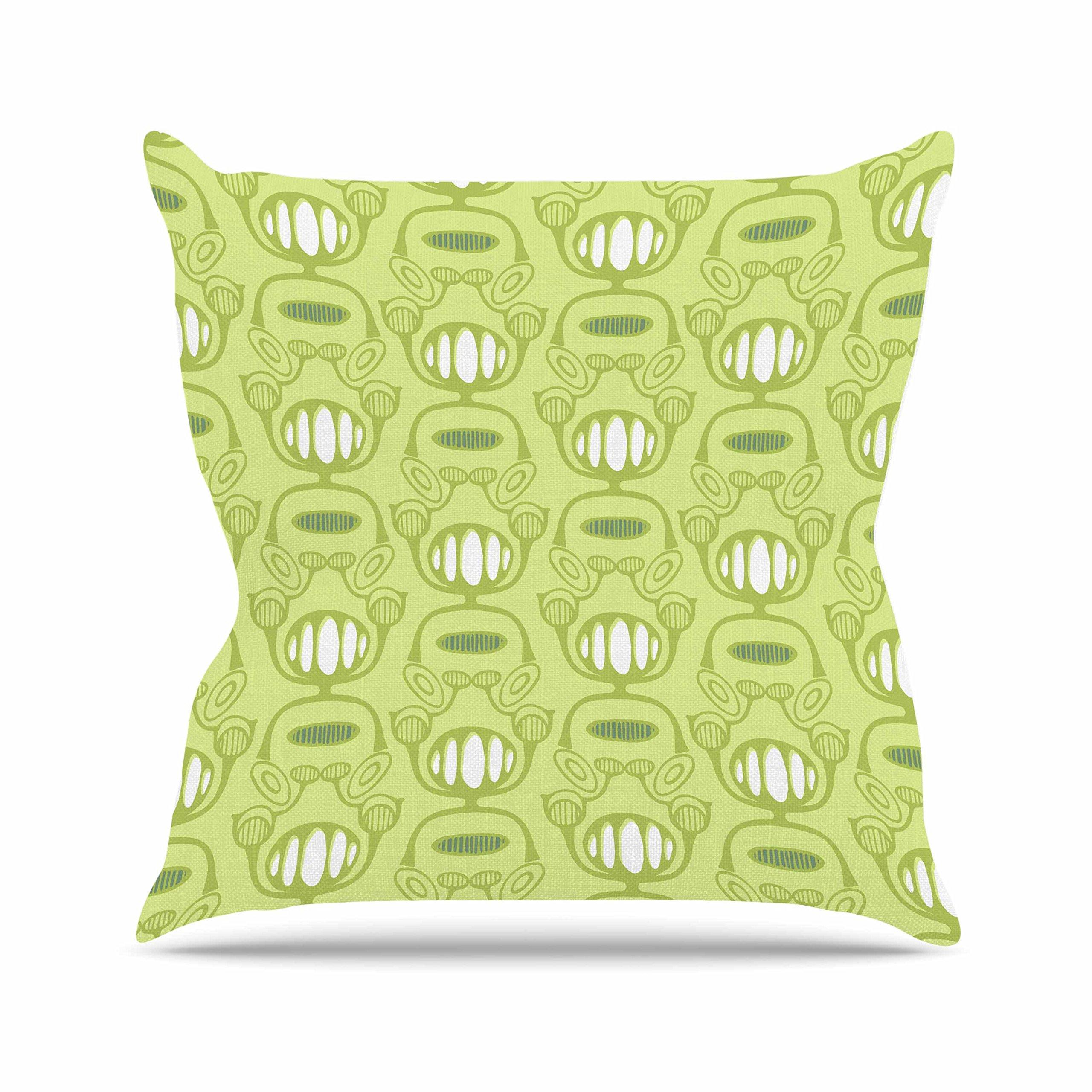 Kess InHouse Holly Helgeson Flower Power Green Pattern Outdoor Throw Pillow, 18'' x 18''
