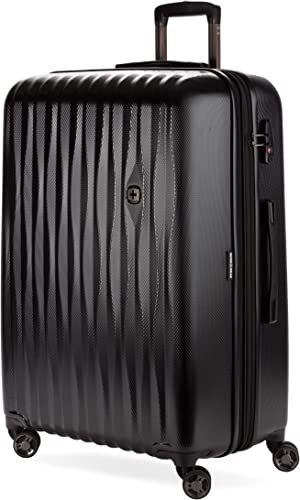 SWISSGEAR 7272 Energie Hardside Polycarbonate Spinner, Large Checked Luggage – Black