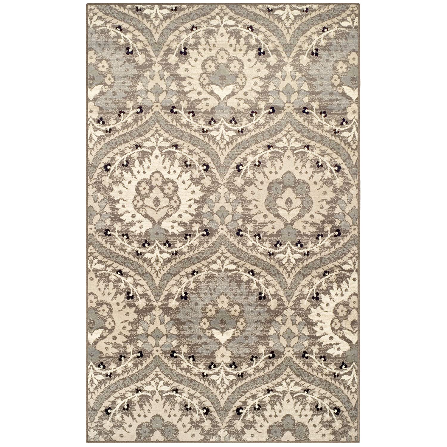 Superior Designer Augusta Collection Area Rug, 8mm Pile Height with Jute Backing, Beautiful Floral Scalloped Pattern, Anti-Static, Water-Repellent Rugs - Beige, 2' x 3' Rug 2' x 3' Rug 2X3RUG-AUGUSTA